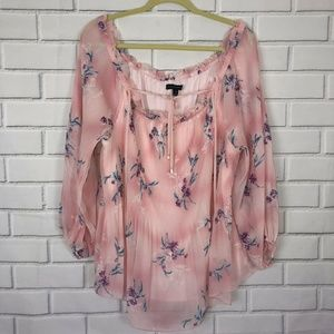 Lane Bryant Pink Off Shoulder Blouse Shirt Floral